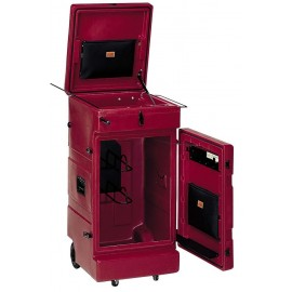 Fahrbarer Gerätekoffer für Reitpferde, granat
